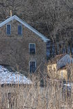 Old Stone House Winter Midwest Stock Photo