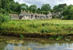 Old stone houses in Bibury village Royalty Free Stock Photo