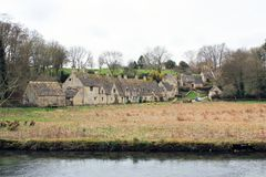 Old stone houses in english countryside landscape Royalty Free Stock Images