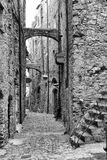 Ancient road with old stone houses. Old stone houses of a Ligurian village named bussana vecchia Stock Photo