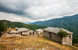 Old stone houses in a remote mountain village Stock Photo