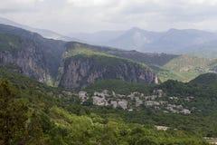 Old stone houses in the village Monodendri of Zagoria, Epirus, W Stock Photo