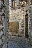 Old stone houses and wall in historic acient city old town architecture stlye Stock Image