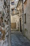 Old stone houses and wall in historic acient city old town architecture stlye Royalty Free Stock Image