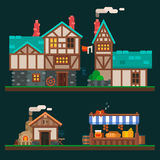Old stone houses. Old stone and wooden houses, quiet life in the suburbs, rurality and the shelves in the grocery market. Village and medieval city. Vector flat Royalty Free Stock Photo