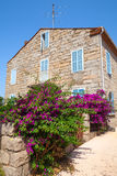 Old stone living house facade, Figari town Stock Image