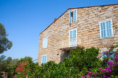 Old Stone Living House Facade Fragment, Figari Stock Images