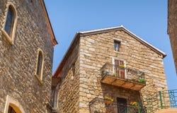 Old stone living houses facades, Sartene, Corsica Stock Photos
