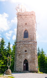 Old stone lookout tower Zaly in Giant Mountains, Krkonose, Czech Republic Royalty Free Stock Photos