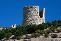 Old stone made watch tower in Cartagena,Spain Royalty Free Stock Image