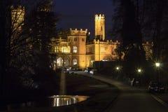 Old stone majestic illuminated castle in night woods Stock Photography
