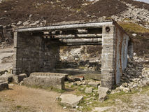 The old stone masons hut. This is a hut from an old abandoned granite quarry in the mourne mountains ireland Stock Photos