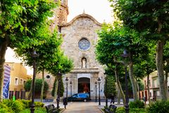 Old stone medieval Church of St Nicolau, it is known as the Cathedral of the Coast in Malgrat de Mar, Catalonia, Barcelona, Spain. Old stone medieval Church of Royalty Free Stock Image