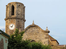 Old stone medieval Church of St Nicolau in Spain Stock Images