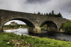 An old stone mill and bridge in Thurso, Scotland stock photo