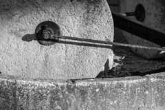 Old stone millstones Royalty Free Stock Images