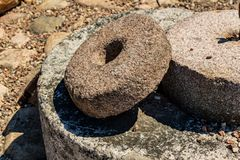 Old stone millstones royalty free stock image