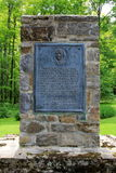 Old stone monument erected to honor those who fought at Fort Carillon,New York,2014. Old stone monument, erected to honor those who fought to protect Fort royalty free stock images