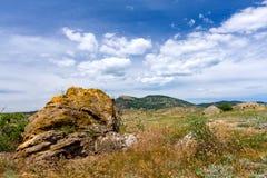 Old stone on mountain meadow Stock Photos