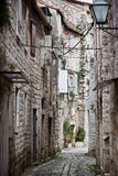 Old Stone Narrow Streets of Trogir, Croatia. Stock Photos