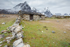 Old stone nepalese houses in Hymalayas Stock Images