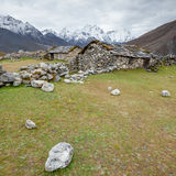 Old stone nepalese houses in Hymalayas Stock Image