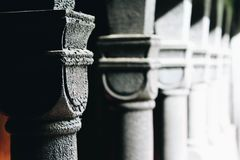 Old stone pillars of ancient building in Norway Stock Photos