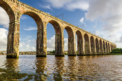 Old stone railway bridge in Berwick-upon-Tweed Royalty Free Stock Images