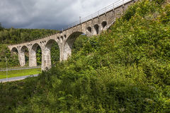 Old stone railway viaduct Royalty Free Stock Image
