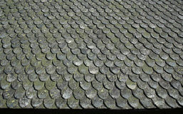 Old stone roof. Traditional Norwegian stone roof and pattern Royalty Free Stock Photography