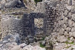 Old stone ruins in the mountains in the town of Kotor. Montenegro Stock Image