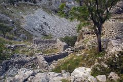 Old stone ruins in the mountains in the town of Kotor. Montenegro Royalty Free Stock Photos