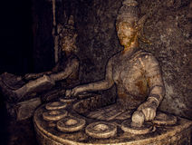 Old stone sculpture in Thailand. Royalty Free Stock Photos
