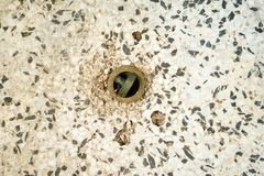 Old stone sink. View on stone sink made of different material.From above Stock Images