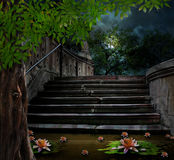 Old stone staircase in celebration of Halloween on background Royalty Free Stock Photo