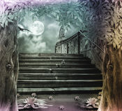 Old stone staircase in celebration of Halloween on background Stock Photography