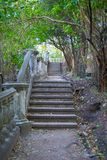 Old stone staircase with handrails Stock Images