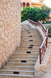 Old stone staircase on the hotel Stock Photos