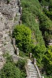 Old stone staircase leading down royalty free stock photos
