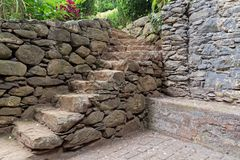 Old stone staircase in a park. Near to the Church of our Lady of Monte in Nossa Senhora Do Monte, Madeira, Portugal stock photos