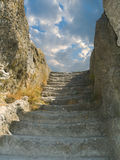 Old stone staircase to sky. Cloudscape Royalty Free Stock Photo