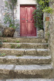 Old stone stairs with entrance door Stock Images