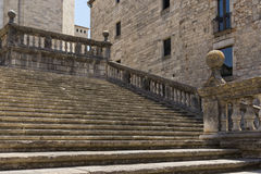 The old stone stairs. Old stone stairs in front of the cathedral of Girona, Spain stock images