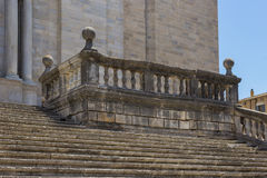 The old stone stairs. Old stone stairs in front of the cathedral of Girona, Spain royalty free stock photos