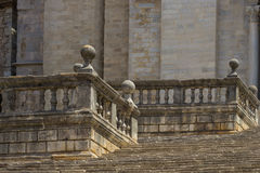 The old stone stairs. Old stone stairs in front of the cathedral of Girona, Spain stock image