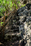 Old stone stairs on the island Bali goes down on the rock to sea water and Seganing waterfall Royalty Free Stock Photo