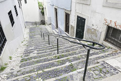 Old stone stairs in Lisbon Royalty Free Stock Photos