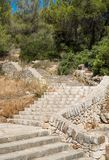 Old stone stairs in Mallorca. Spain, on a sunny day with some trees in the background stock photo