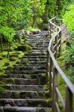 Rustic stone stairway, Portland Japanese Garden Stock Photo
