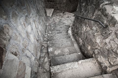 Old stone stairway on the street of Perast Royalty Free Stock Images
